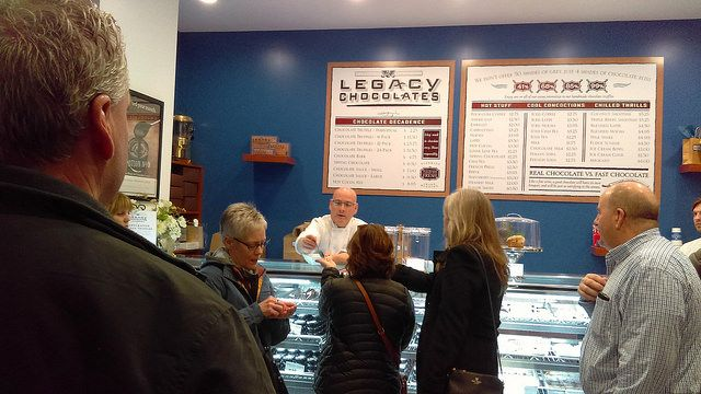Sweetness at Legacy Chocolates with owners.